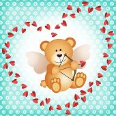 picture of cupid  - Scalable vectorial image representing a cupid teddy bear on a background - JPG