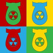 pic of nuclear bomb  - Pop art atom bomb symbol icons - JPG