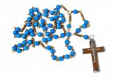 picture of rosary  - Macro of blue rosary isolated on white background - JPG