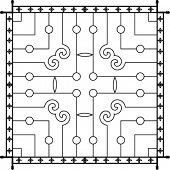 stock photo of wrought iron  - Wrought Iron Fireplace Grill Vector Art - JPG