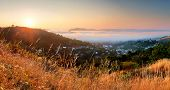 stock photo of banska  - Banska Stiavnica Slovakia at a sunrise with meadow - JPG