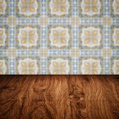 stock photo of ceramic tile  - Empty wood table top and blur vintage ceramic tile pattern wall in background Mock up template for display of your product - JPG