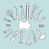 stock photo of leather tool  - Set of vector leather working tools background - JPG