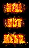 stock photo of hell  - Fire hell hot devil text in burning flames - JPG