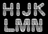 Silver H, I, J, K, L, M, N, Letters Incrusted With Diamonds