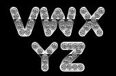 Silver V, Z, W, X, Y Letters Incrusted With Diamonds