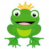 picture of cute frog  - Illustration of a cute little happy frog prince with a crown isolated on white background - JPG