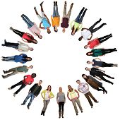 stock photo of multicultural  - Smiling happy multicultural multi ethnic group of young people in circle isolated - JPG