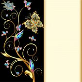 foto of precious stone  - illustration background with butterflies and ornaments made of precious stones - JPG