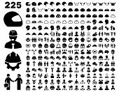 Work Safety and Helmet Icon Set. poster