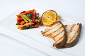 picture of dory  - grilled fish steak with lemon and vegetables - JPG