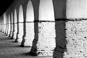 The Arches Of San Juan Bautista Mission Black And White Version