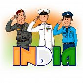 image of indian independence day  - Illustration of saluting army officers with national flag color text India for Indian Independence Day - JPG