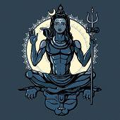 stock photo of hindu  - Lord Shiva Hindu god Pose meditation - JPG