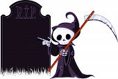 stock photo of grim-reaper  - Cute cartoon grim reaper with scythe pointing to tombstone - JPG
