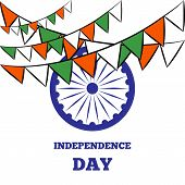 pic of indian independence day  - Indian Independence Day background with Ashoka wheel - JPG