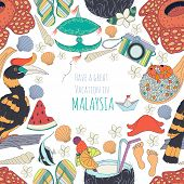 pic of malaysian food  - Seamless pattern of traditional things in Malaysia - JPG
