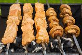 image of grill  - Grilled salmon steaks on the grill - JPG