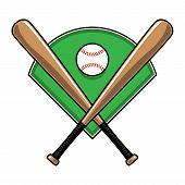 image of baseball bat  - A vector illustration of crossed baseball bats and a baseball on top of a green diamond field - JPG