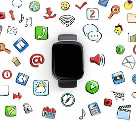 stock photo of social system  - smart watch with social media icons isolated on a white background - JPG