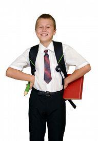 foto of schoolboys  - smiling schoolboy with book and pencil - JPG