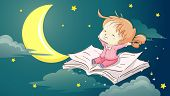 Whimsical Illustration of  a Cute Little Girl Sitting on a Book Stretching Her Arms in Sleepiness poster