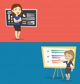 Two educational banners with space for text. Vector flat design. Horizontal layout. Teacher standing poster