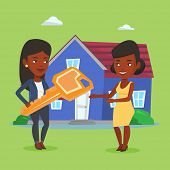 Real estate agent giving key to a new owner of house. African-american real estate agent passing hou poster