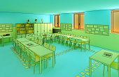 hi res image of indoor, school cartoon style