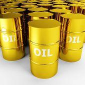 black gold, 3d image of golden oil barrel