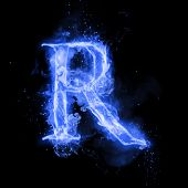 Fire letter R of burning blue flame. Flaming burn font or bonfire alphabet text with sizzling smoke  poster