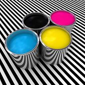 cmyk color paint background and 3d metal can