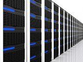 imagem 3D de data centers com lotes de servidor