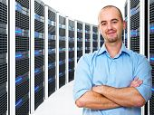 confident young man and datacenter 3d background
