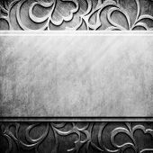 Silver metal plate with classic ornament (vintage collection)