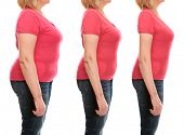 Mature womans body before and after weightloss on white background. Health care and diet concept. poster