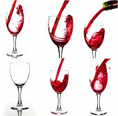Red wine and wineglasses. Collage of wine shots. 27 megapixel.