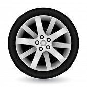 Car wheel on white background. Vector illustration.
