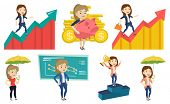 Caucasian business woman running along the profit chart. Business woman standing on profit chart. Co poster