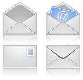 Grey Mail Envelopes with Reflection