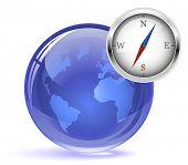 Glossy Globe and Compass
