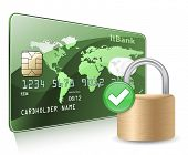 Credit or debit card and padlock. Payment  Security Concept.