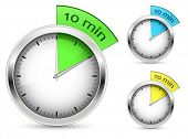 Set of 10 minutes timer. Vector illustration.