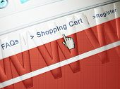 stock photo of internet shop  - online shopping on a web page about to click the shopping cart link - JPG