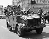 American military truck in Pilsen City Czech Republic Europe - Anniversary ends second world wars