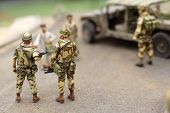 American patrol in Bagdad street - plastic model 1:72 scale - extremely closeup