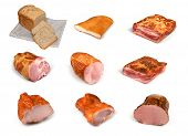 Meat and bread collection on white background