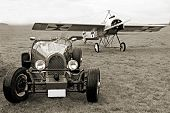 Historic racer and historic monoplane Fokker Eindecker - vintage photography