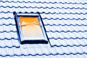 Winter house. Window close up. Conceptual image - thermal insulation.