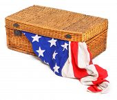 American flag in retro suitcase. Conceptual image. Immigration or emigration metaphor. Great for Ind
